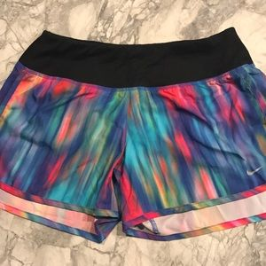 Multicolored Nike running shorts:) size small